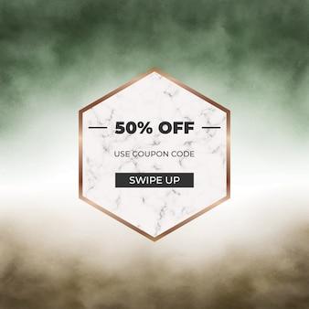 Banner de redes sociales de acuarela de trazo de pincel verde y marrón con marco de mármol geométrico