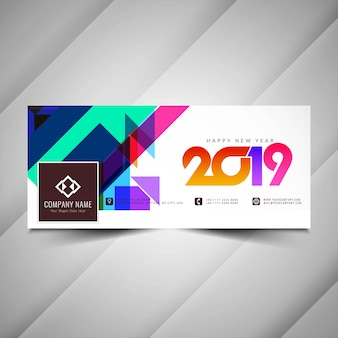 Banner de redes sociales colorido feliz año nuevo 2019