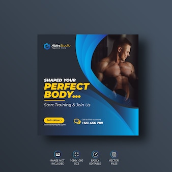 Banner de redes sociales fitness gym