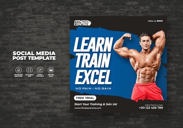 Banner de redes sociales de fitness o gym o plantilla de volante de estudio deportivo cuadrado