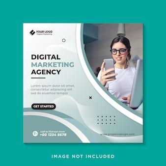 Banner de redes sociales de marketing de negocios digitales o folleto cuadrado