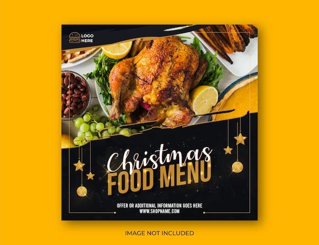 Banner de redes sociales de menú de comida navideña o diseño de publicación con adornos decorativos