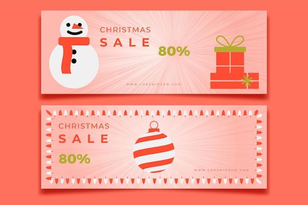 Banner de redes sociales para navidad con muñeco de nieve y regalos de navidad