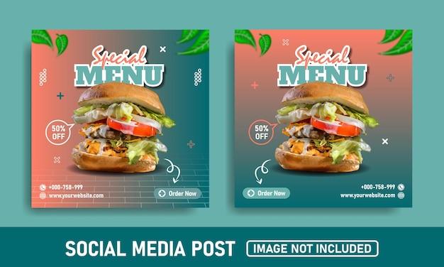Banner de redes sociales y plantilla de diseño de instagram para publicación de hamburguesas