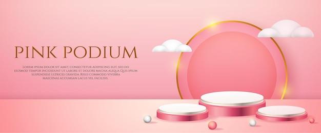 Banner de redes sociales con podio rosa de exhibición de productos 3d y nubes blancas