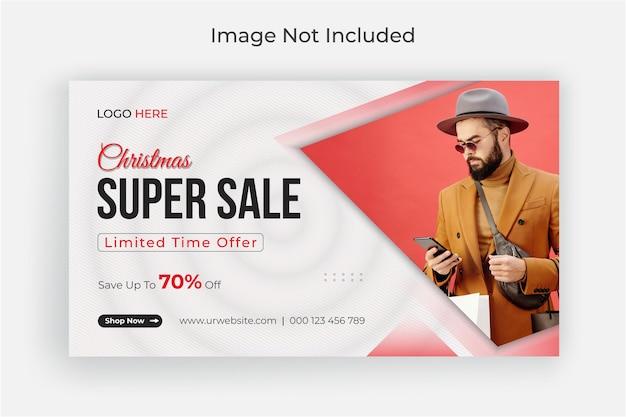 Banner de redes sociales de super venta de navidad y plantilla de banner web vector premium