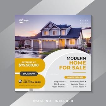 Banner de redes sociales de venta de bienes raíces o plantilla de volante cuadrado