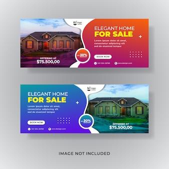 Banner de redes sociales de venta de bienes raíces o portada de facebook