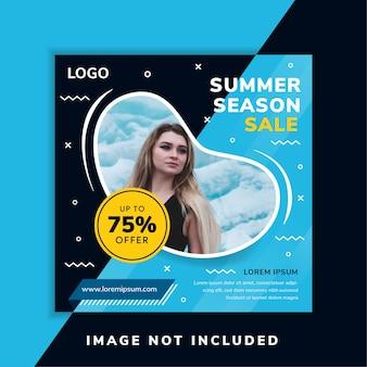 Banner de redes sociales para venta de temporada de verano use diseño cuadrado. plano de azul y amarillo para el diseño de fondo y elementos. color de texto blanco. espacio de burbuja líquida para collage de fotos. estilo memphis.