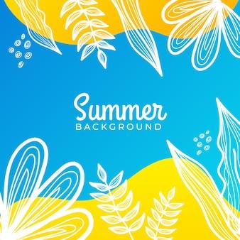Banner de redes sociales de verano con flores y hojas de verano tropical.