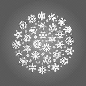 Banner redondo de copos de nieve blanca aislado sobre fondo transparente