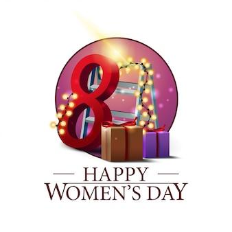 Banner redondo día de la mujer con regalos y guirnalda.