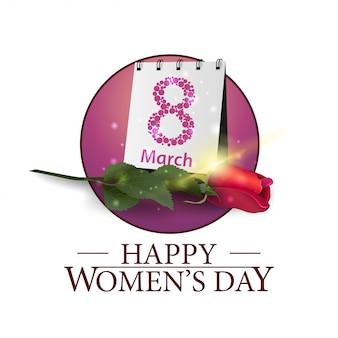 Banner redondo día de la mujer con rosa y calendario.