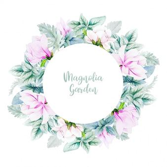 Banner redondo con flores y hojas de magnolia acuarela