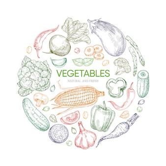 Banner redondo de verduras frescas