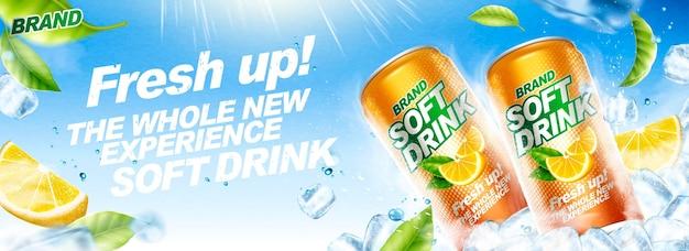 Banner de refresco refrescante con cubitos de hielo y hojas verdes voladoras
