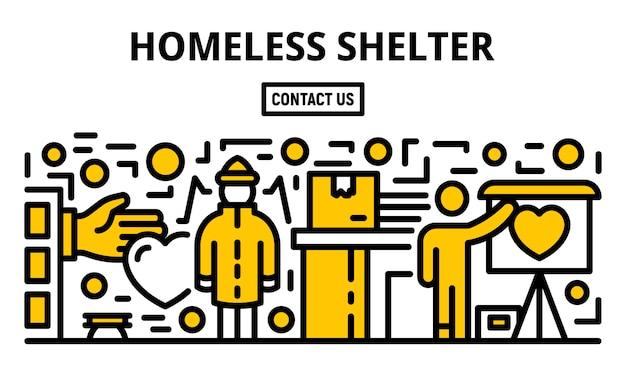 Banner de refugio para personas sin hogar, estilo de contorno