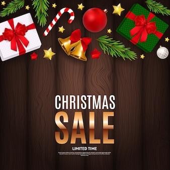 Banner de regalo de venta de navidad y año nuevo