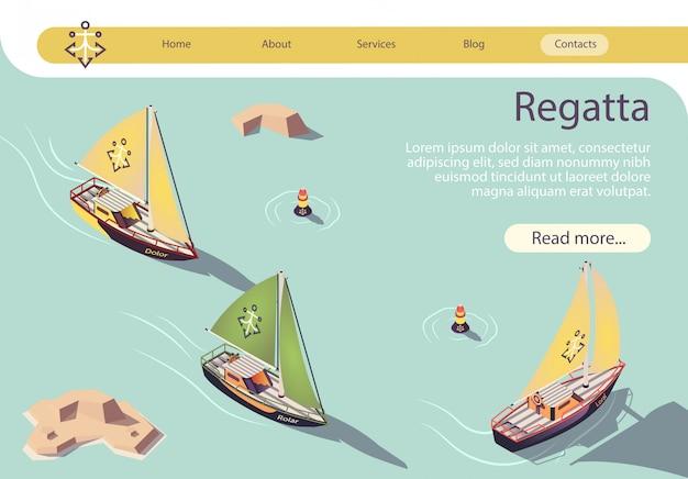 Banner de regata de vela de mar con velero