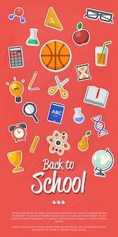 Banner de regreso a la escuela con iconos planos