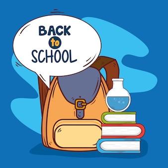 Banner de regreso a la escuela con mochila y útiles escolares.