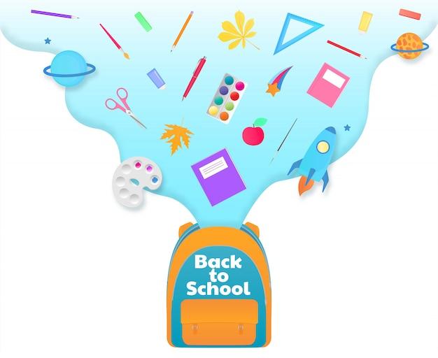 Banner de regreso a la escuela, mochila con útiles de estudio, papelería. nave espacial, cometa, planeta.