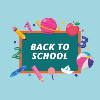 Banner de regreso a la escuela con pizarra y objetos escolares. ilustración vectorial