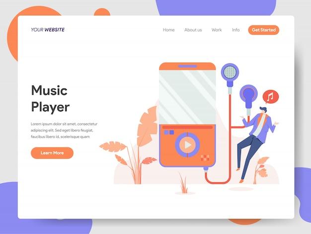 Banner del reproductor de música de la página de inicio