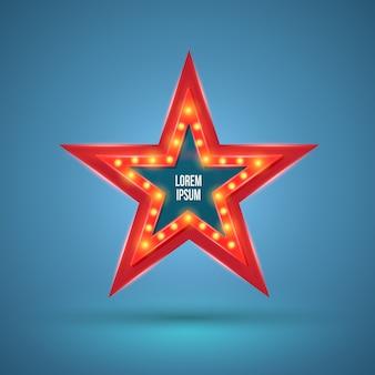 Banner retro de estrellas con bombillas en el contorno.