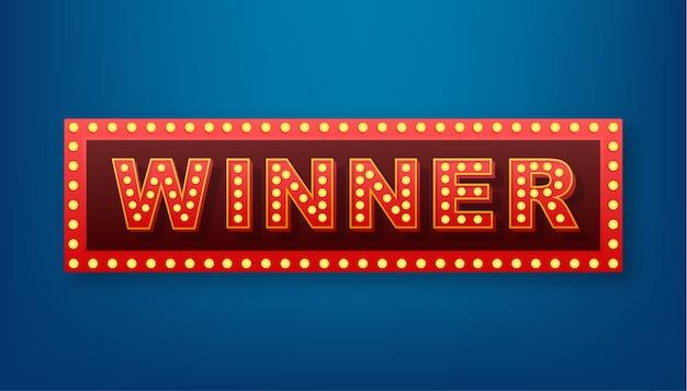 El banner retro ganador con lámparas incandescentes. poker, cartas, ruleta y lotería. ilustración de stock.