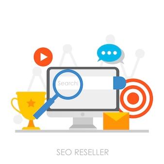 Banner de revendedor seo. ordenador personal con gráficos en aumento, optimización de búsqueda.