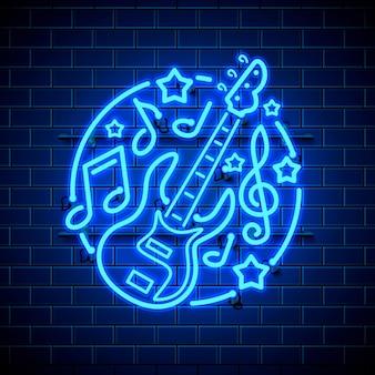 Banner de rock de música de etiqueta de neón.