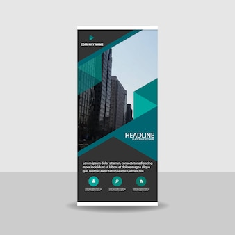 Banner roll up abstracto comercial verde