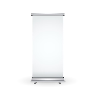 Banner rollup realista en blanco aislado en blanco