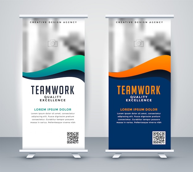 Banner de rollup standee moderno para marketing