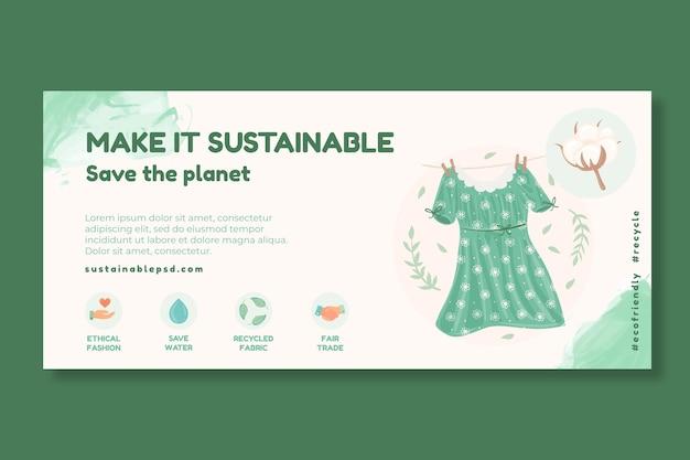 Banner de ropa sostenible para el medio ambiente.