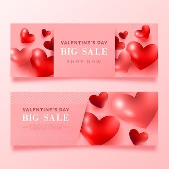 Banner rosa de gran venta de san valentín