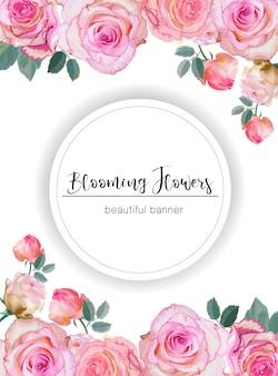 Banner con rosas ilustración vectorial