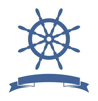 Banner de rueda de barco aislado sobre fondo blanco. ilustración vectorial