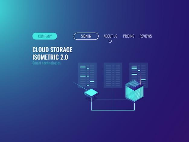 Banner de la sala del servidor, tecnología proxy vpn, datos del centro de datos en la nube, concepto de blockchain