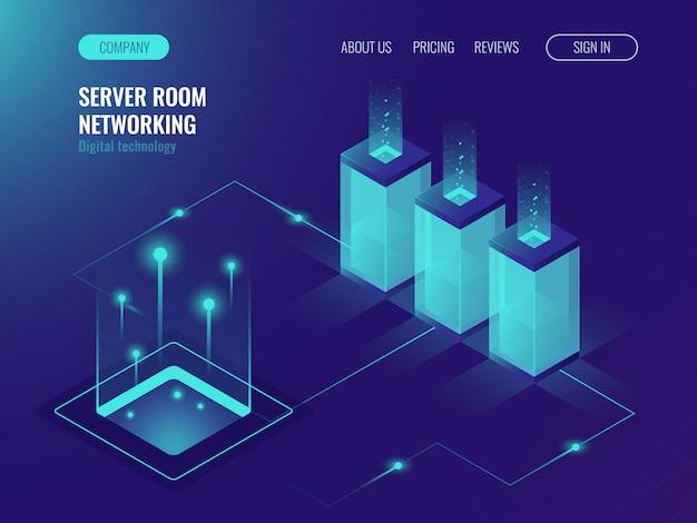 Banner de sala de servidores, alojamiento web y procesamiento de concepto de big data