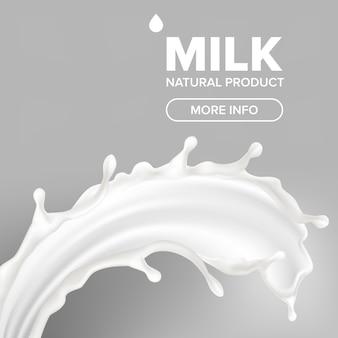 Banner de salpicaduras de leche