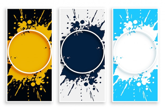 Banner de salpicaduras de tinta abstracta en diferentes colores.