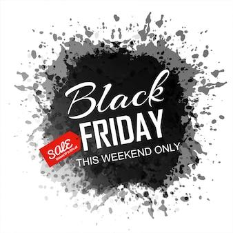 Banner de salpicaduras de tinta de viernes negro abstracto