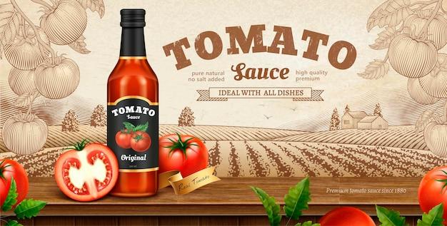 Banner de salsa de tomate con naturaleza grabada