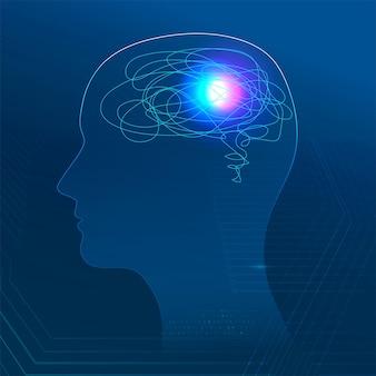 Banner de salud mental para tecnología médica.