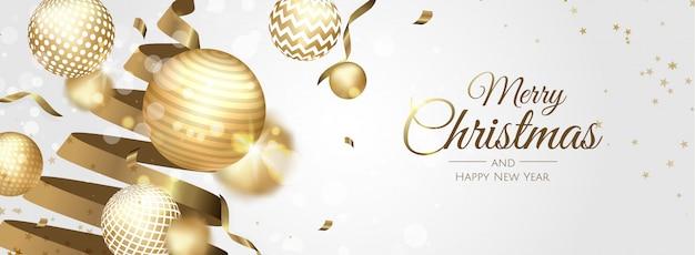 Banner de saludo de bolas de navidad doradas