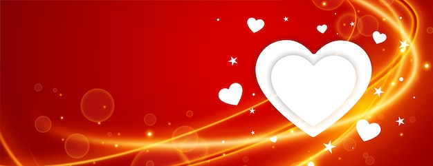 Banner de saludo de corazones con racha de luz para el día de san valentín