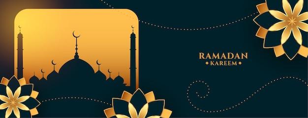 Banner de saludo dorado de ramadan kareem con flores