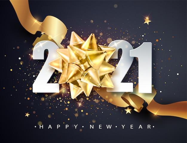 Banner de saludo de feliz año nuevo 2021 con lazo de regalo dorado y brillo